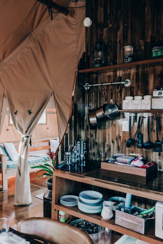 Luxuy Glamping Küche mit Luxus Ausstattung